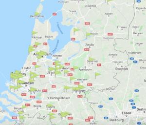 Kaart van Nederland met daarop leegstaande zorglocaties